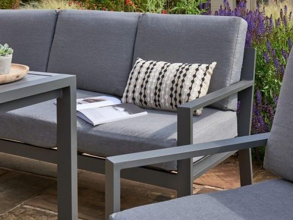 Titchwell Grey Garden Lounge Set - Sofa & Chair Close Up