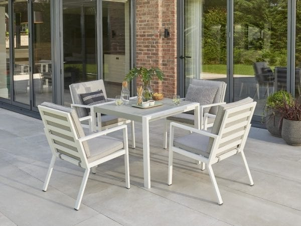 Titchwell Four Seat Garden Dining Set White