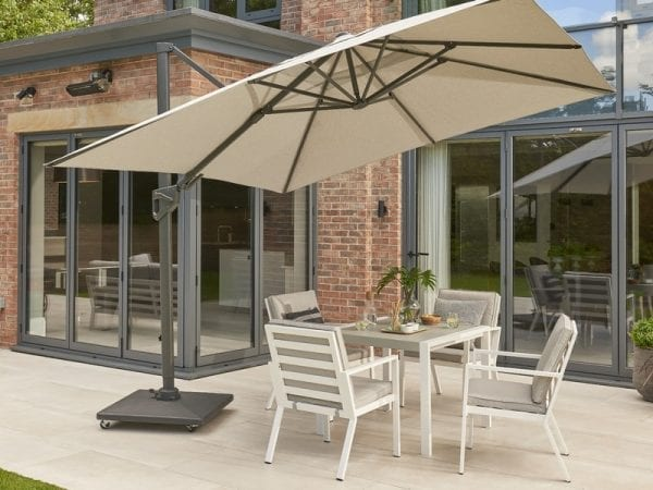 Titchwell Four Seat Outdoor Dining Set White - In Situ