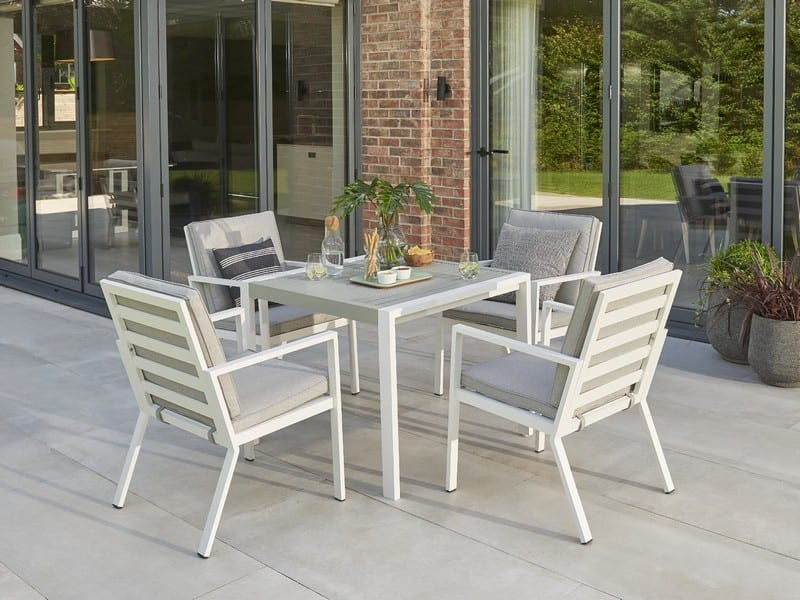 Titchwell Four Seat Outdoor Dining Set, White Garden Furniture