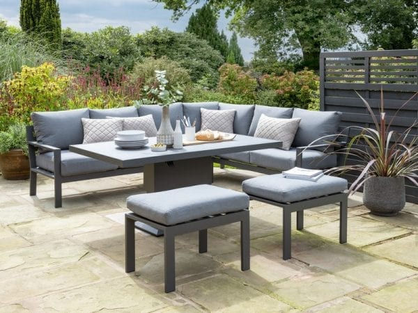 Titchwell Garden Corner Sofa with Gas AdjustableTable - Table Extended