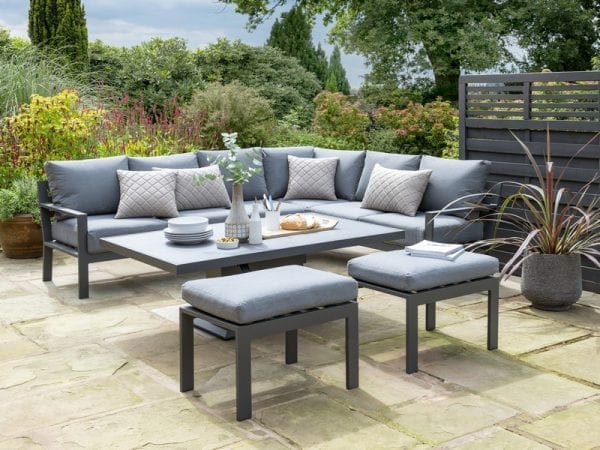 Titchwell Garden Corner Sofa with Gas AdjustableTable - Table Lowered
