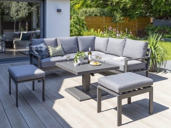 Titchwell Mini Corner Sofa Set With Adjustable Table - Lowered Table