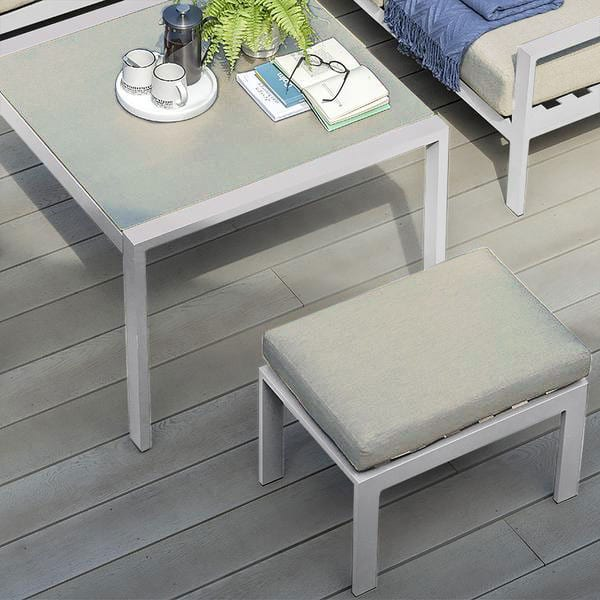 Titchwell Mini Corner Sofa With Standard Table in White - Table & Stool