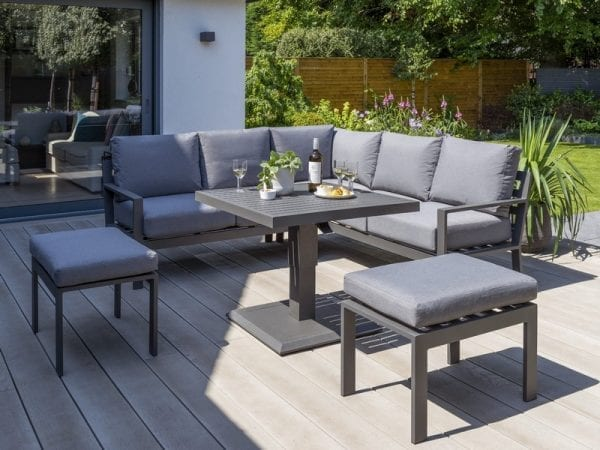 Titchwell Mini Garden Corner Sofa Set With Adjustable Table - Extended Table
