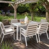 Titchwell Six Seat Garden Dining Set White