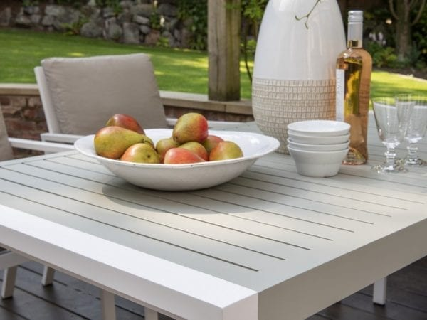 Titchwell Six Seat Outdoor Dining Set White - Close Up