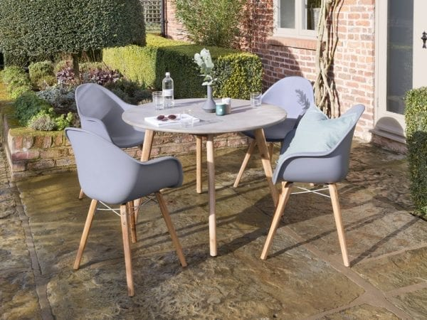 Zari Four Seat Round Garden Dining Set