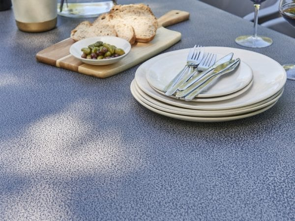 Zari Four Seat Round Outdoor Dining Set - Table Close Up