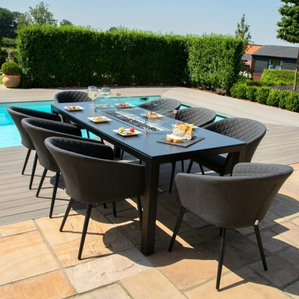 Ambition 8 Seat Rectangular Firepit Dining Set - Charcoal