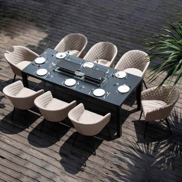 Ambition 8 Seat Rectangular Firepit Dining Set - Taupe