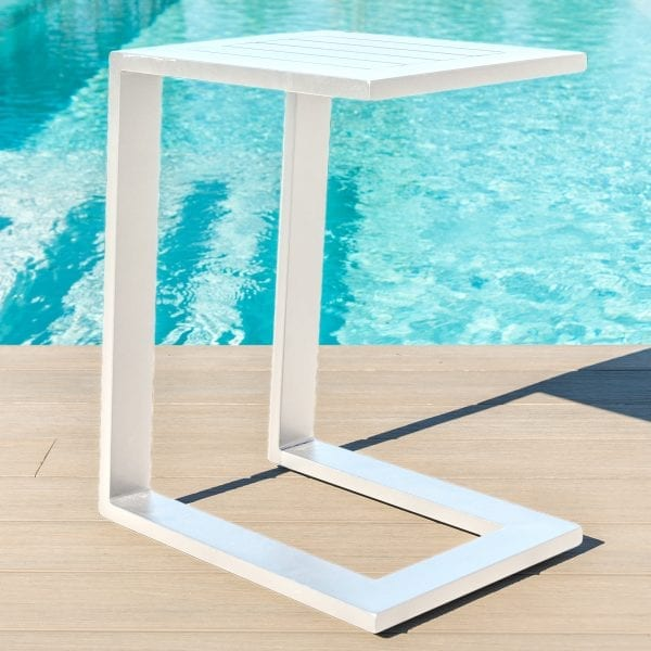 Aluminium Side Table - White