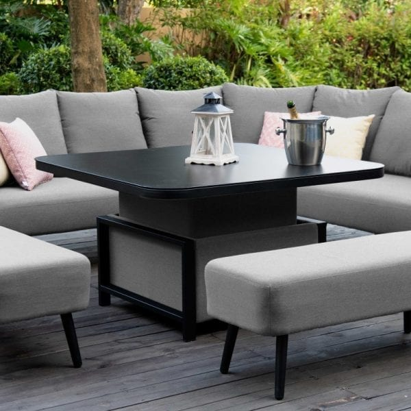 Ambition Square Corner Dining Set with Rising Table - Flanelle