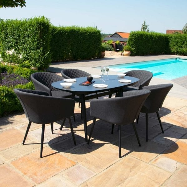 Ambition 6 Seat Oval Dining Set - Charcoal