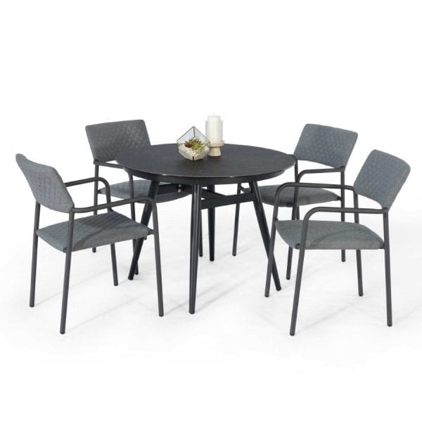 Bliss 4 Seat Round Dining Set - Flanelle