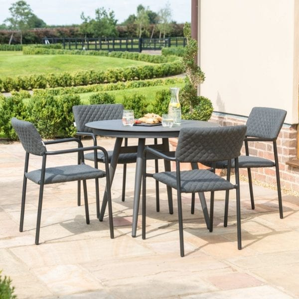 Bliss 4 Seat Round Dining Set - Charcoal