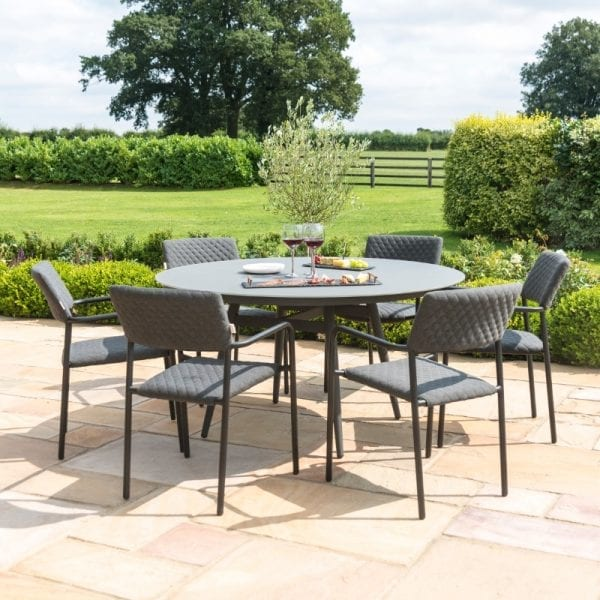 Bliss 6 Seat Round Dining Set - Charcoal