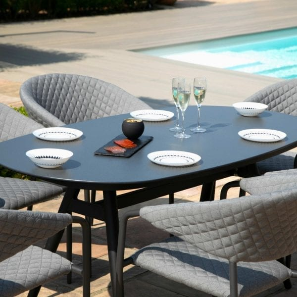Pebble 6 Seat Oval Dining Set - Flanelle