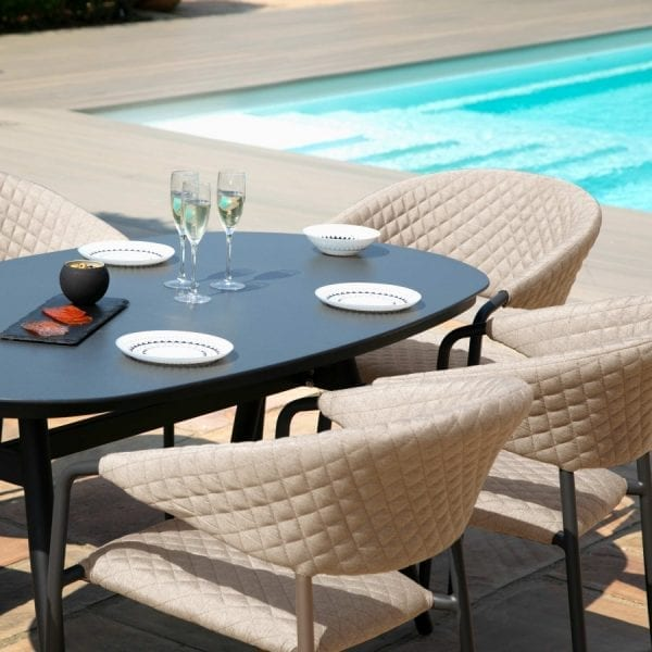 Pebble 6 Seat Oval Dining Set - Taupe