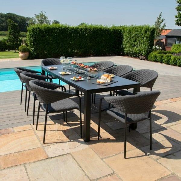 Pebble 8 Seat Rectangular Dining Set - Firepit Table - Charcoal