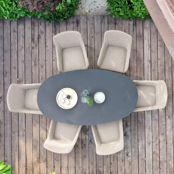 Zest 6 Seat Oval Dining Set - Taupe