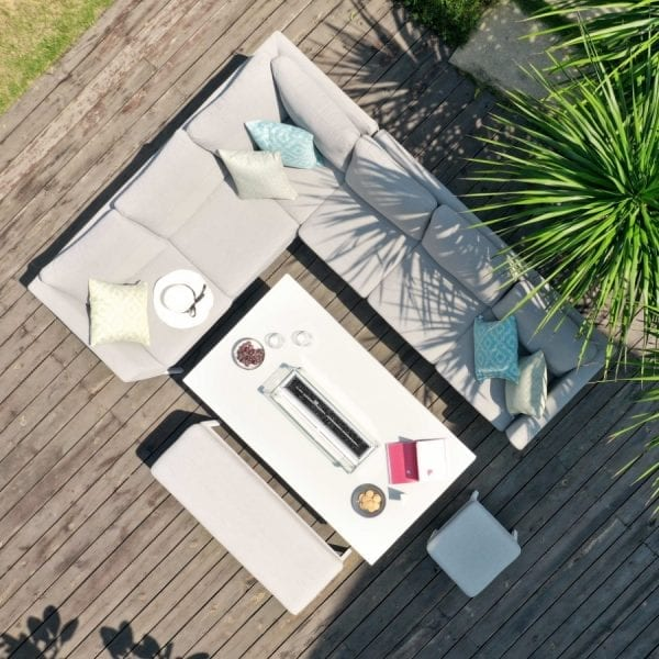 Pulse Rectangular Corner Dining Set w/ Firepit Table - Lead Chine