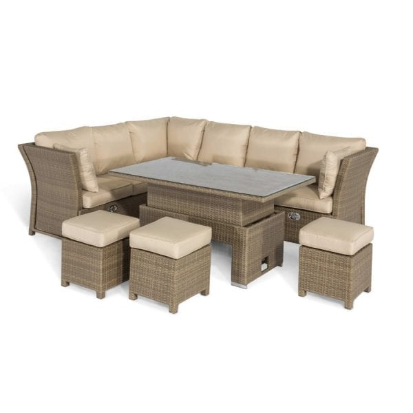 Tuscany Corner Dining Set with Rising Table - Natural
