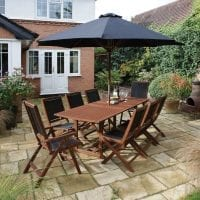Bali 8 Seat Extendable Dining Set w/ Parasol