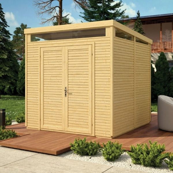 8x8 Pent Security Shed - Unpainted Natural 5013856995807