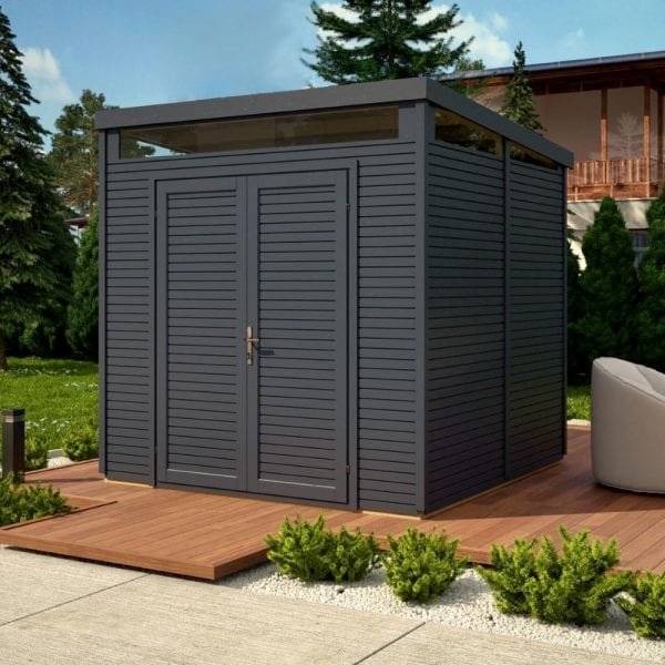 8x8 Pent Security Shed Painted - Anthracite 5013856995791