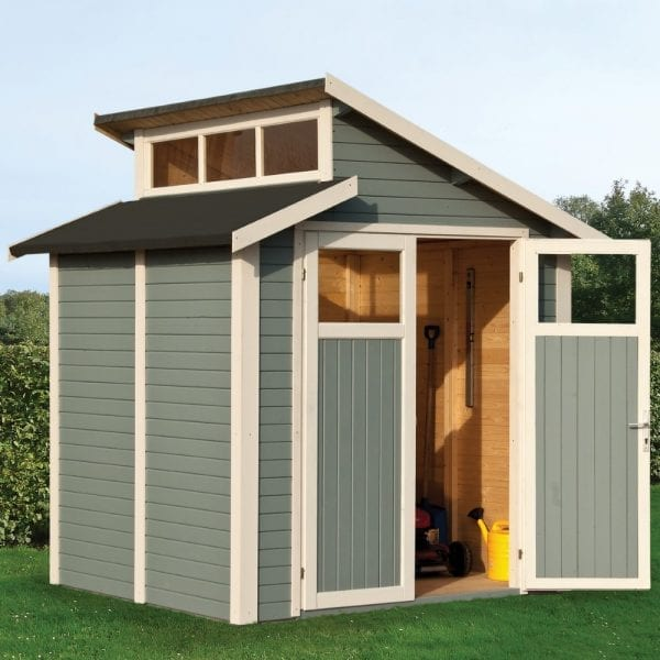 7'x7' Shed With Skylight - Light Grey