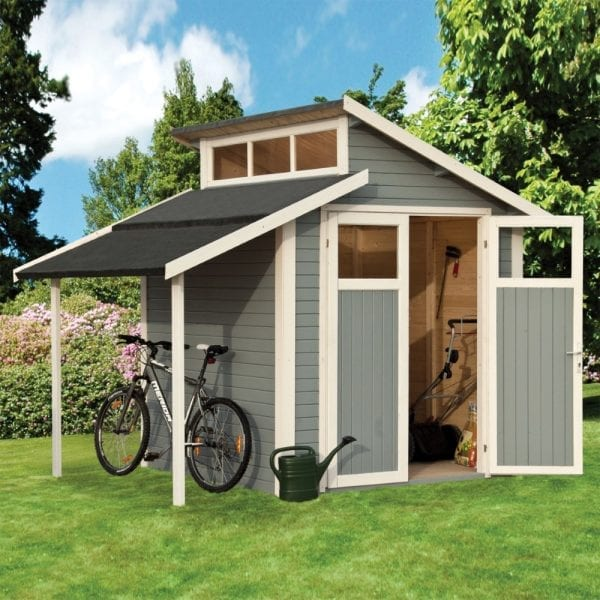 7'x10' Lean To Shed With Skylight - Light Grey
