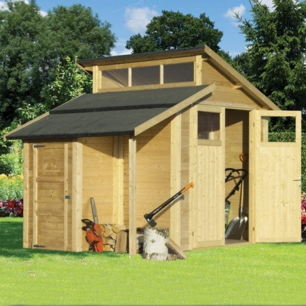 7'x10' Shed With Skylight & Store - Natural