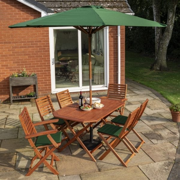 Plumley 6 Seat Dining Set - Green Cushions