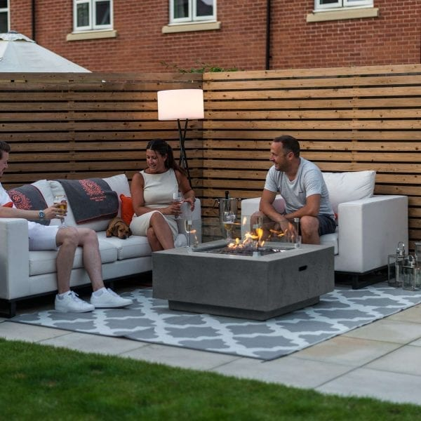 Albany Gas Fire Pit with Wind Guard - Light Grey