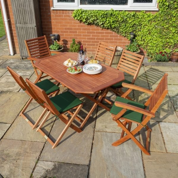 Plumley 6 Seat Dining Set Green Cushions