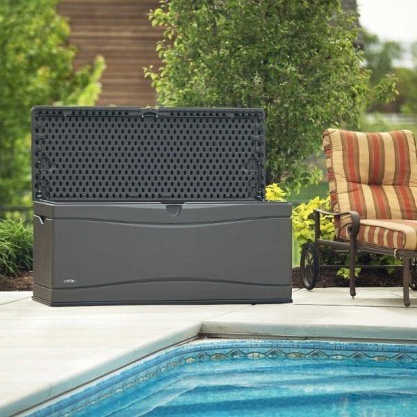 Lifetime 500L Outdoor Storage Box - Dark Grey - In Situ