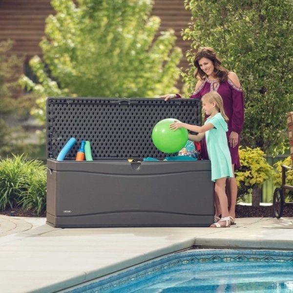 Lifetime 500L Outdoor Storage Box - Dark Grey - In Use