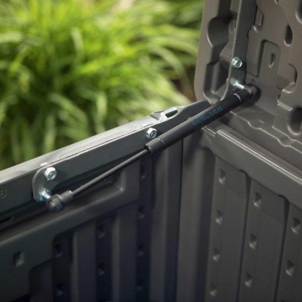 Lifetime 500L Outdoor Storage Box - Dark Grey - Opening Pistons