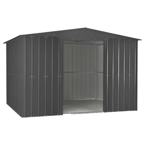 Lotus 10x10 Shed Anthracite Grey - Doors Open
