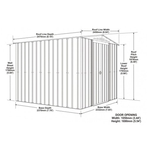 Lotus 8x8 Shed Anthracite Grey - Dimensions