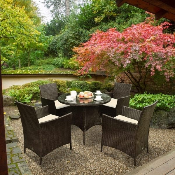 Four Seat Rattan Round Dining Set - Brown