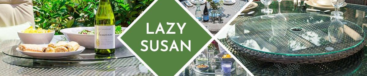 Rattan Lazy Susan Garden Furniture   Glass Lazy Susan