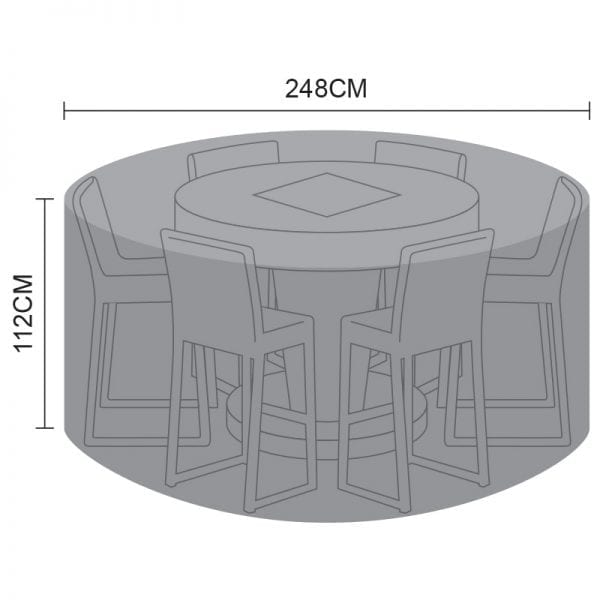 Bar Set Cover - 6 Seat Round with Fire Pit