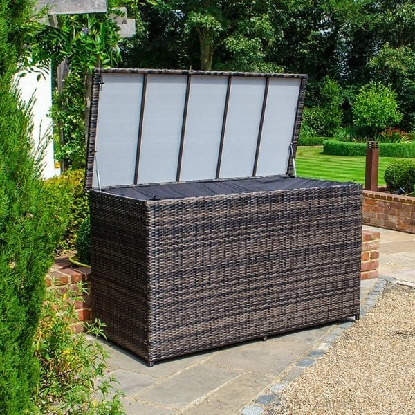 Large Rattan Storage Box with Cover - Brown