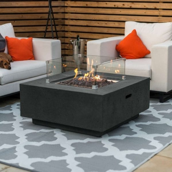 Albany Gas Fire Pit with Wind Guard - Dark Grey