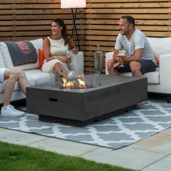 Cairns Gas Fire Pit with Wind Guard - Dark Grey