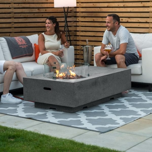 Cairns Gas Fire Pit with Wind Guard - Light Grey
