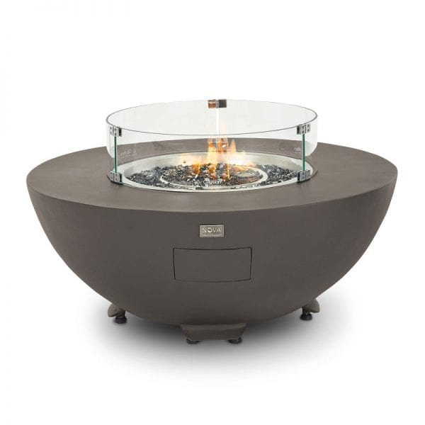 Saturn Round Gas Fire Pit with Cover - Coffee