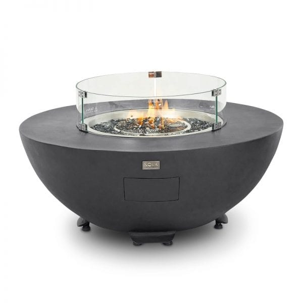 Saturn Round Gas Fire Pit with Cover - Dark Grey